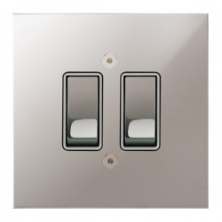 Focus SB True Edge TEAPS11.2W 2 gang 20 amp 2 way rocker switch in Polished Stainless with white inserts