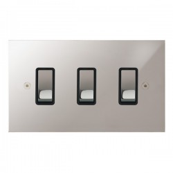 Focus SB True Edge TEAPS11.3B 3 gang 20 amp 2 way rocker switch in Polished Stainless with black inserts