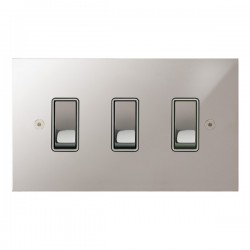 Focus SB True Edge TEAPS11.3W 3 gang 20 amp 2 way rocker switch in Polished Stainless with white inserts