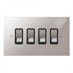 Focus SB True Edge TEAPS11.4B 4 gang 20 amp 2 way rocker switch in Polished Stainless with black inserts