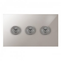 Focus SB True Edge TEAPS14.3 3 gang 20 amp 2 way toggle switch in Polished Stainless