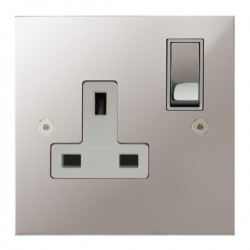 Focus SB True Edge TEAPS18.1W 1 gang 13 amp switched socket in Polished Stainless with white inserts