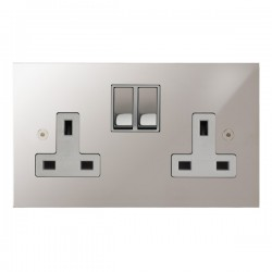 Focus SB True Edge TEAPS18.2W 2 gang 13 amp switched socket in Polished Stainless with white inserts
