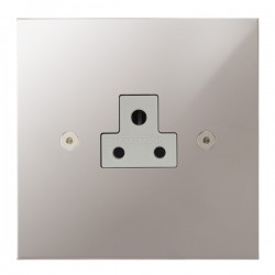 Focus SB True Edge TEAPS19.1W 1 gang 2 amp unswitched socket in Polished Stainless with white inserts