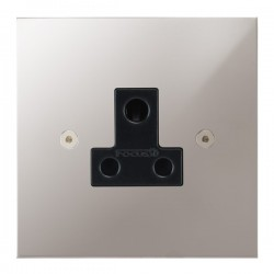 Focus SB True Edge TEAPS20.1B 1 gang 5 amp unswitched socket in Polished Stainless with black inserts