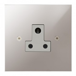 Focus SB True Edge TEAPS20.1W 1 gang 5 amp unswitched socket in Polished Stainless with white inserts