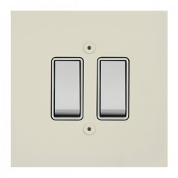 Focus SB True Edge TEAPW10.2W 2 gang 20 amp 2 way rocker switch in Primed White with white inserts