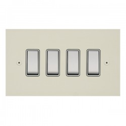 Focus SB True Edge TEAPW10.4W 4 gang 20 amp 2 way rocker switch in Primed White with white inserts