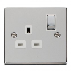 Click Deco Victorian Polished Chrome 1 Gang 13A Double Pole Ingot Switched Socket Outlet with White Inser...