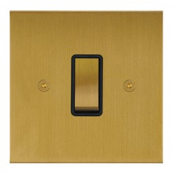 Focus SB True Edge TEASB11.1B 1 gang 20 amp 2 way rocker switch in Satin Brass with black inserts