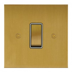 Focus SB True Edge TEASB11.1W 1 gang 20 amp 2 way rocker switch in Satin Brass with white inserts