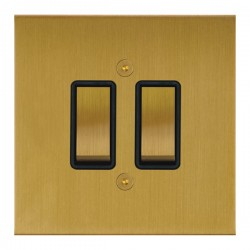 Focus SB True Edge TEASB11.2B 2 gang 20 amp 2 way rocker switch in Satin Brass with black inserts