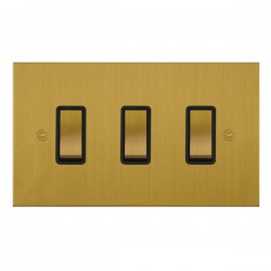 Focus SB True Edge TEASB11.3B 3 gang 20 amp 2 way rocker switch in Satin Brass with black inserts