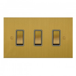 Focus SB True Edge TEASB11.3W 3 gang 20 amp 2 way rocker switch in Satin Brass with white inserts