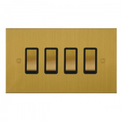 Focus SB True Edge TEASB11.4B 4 gang 20 amp 2 way rocker switch in Satin Brass with black inserts
