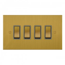 Focus SB True Edge TEASB11.4W 4 gang 20 amp 2 way rocker switch in Satin Brass with white inserts