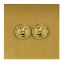 Focus SB True Edge TEASB14.2 2 gang 20 amp 2 way toggle switch in Satin Brass