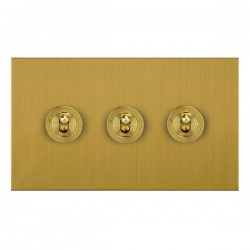 Focus SB True Edge TEASB14.3 3 gang 20 amp 2 way toggle switch in Satin Brass
