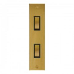 Focus SB True Edge TEASB16.2B 2 gang 20 amp 2 way architrave switch in Satin Brass with black inserts