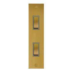 Focus SB True Edge TEASB16.2W 2 gang 20 amp 2 way architrave switch in Satin Brass with white inserts