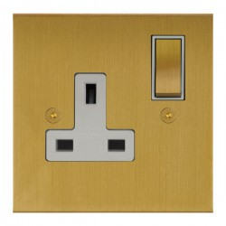 Focus SB True Edge TEASB18.1W 1 gang 13 amp switched socket in Satin Brass with white inserts