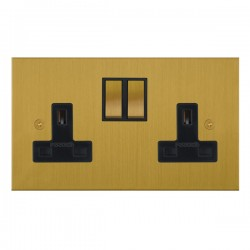 Focus SB True Edge TEASB18.2B 2 gang 13 amp switched socket in Satin Brass with black inserts