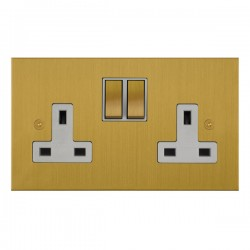 Focus SB True Edge TEASB18.2W 2 gang 13 amp switched socket in Satin Brass with white inserts