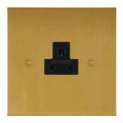 Focus SB True Edge TEASB19.1B 1 gang 2 amp unswitched socket in Satin Brass with black inserts