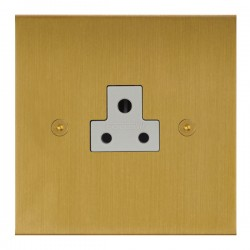 Focus SB True Edge TEASB19.1W 1 gang 2 amp unswitched socket in Satin Brass with white inserts