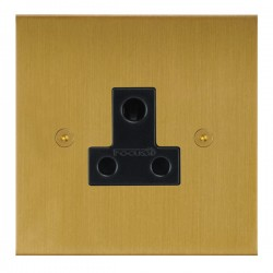Focus SB True Edge TEASB20.1B 1 gang 5 amp unswitched socket in Satin Brass with black inserts