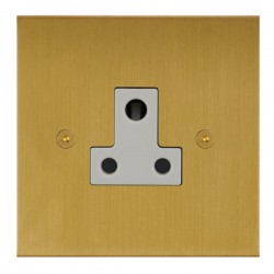 Focus SB True Edge TEASB20.1W 1 gang 5 amp unswitched socket in Satin Brass with white inserts