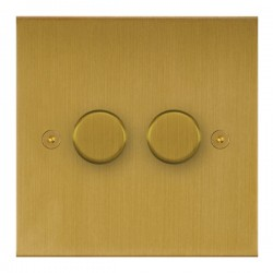 Focus SB True Edge TEASB21.2 2 gang 2 way 250W (mains and low voltage) dimmer in Satin Brass