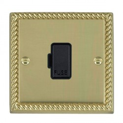 Hamilton Cheriton Georgian Polished Brass 1 Gang 13A Fuse Only with Black Insert