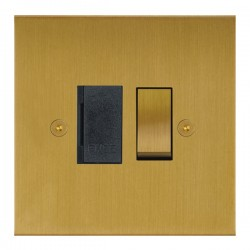 Focus SB True Edge TEASB26.1B 13 amp switched fuse spur in Satin Brass with black inserts