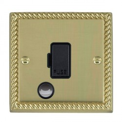 Hamilton Cheriton Georgian Polished Brass 1 Gang 13A Fuse + Cable Outlet with Black Insert