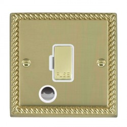 Hamilton Cheriton Georgian Polished Brass 1 Gang 13A Fuse + Cable Outlet with White Insert