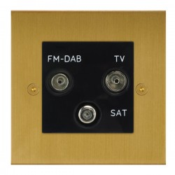 Focus SB True Edge TEASB80.3B triplex TV/FM/Satellite outlet in Satin Brass with black inserts