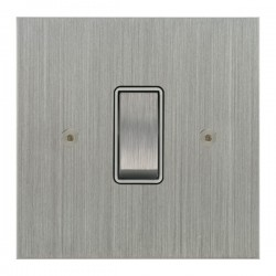 Focus SB True Edge TEASC11.1W 1 gang 20 amp 2 way rocker switch in Satin Chrome with white inserts