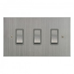 Focus SB True Edge TEASC11.3W 3 gang 20 amp 2 way rocker switch in Satin Chrome with white inserts