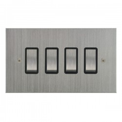 Focus SB True Edge TEASC11.4B 4 gang 20 amp 2 way rocker switch in Satin Chrome with black inserts