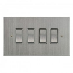 Focus SB True Edge TEASC11.4W 4 gang 20 amp 2 way rocker switch in Satin Chrome with white inserts
