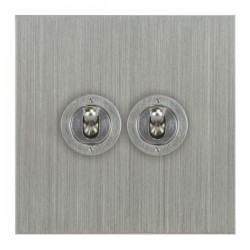 Focus SB True Edge TEASC14.2 2 gang 20 amp 2 way toggle switch in Satin Chrome