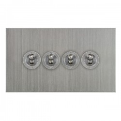 Focus SB True Edge TEASC14.4 4 gang 20 amp 2 way toggle switch in Satin Chrome
