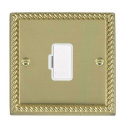 Hamilton Cheriton Georgian Polished Brass 1 Gang 13A Fuse Only with White Insert