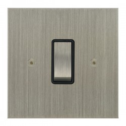 Focus SB True Edge TEASN11.1B 1 gang 20 amp 2 way rocker switch in Satin Nickel with black inserts