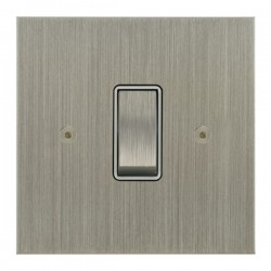Focus SB True Edge TEASN11.1/3W 1 gang 20 amp Intermediate rocker switch in Satin Nickel with White Inserts