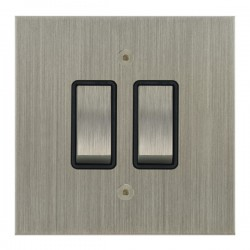 Focus SB True Edge TEASN11.2B 2 gang 20 amp 2 way rocker switch in Satin Nickel with black inserts