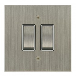 Focus SB True Edge TEASN11.2W 2 gang 20 amp 2 way rocker switch in Satin Nickel with white inserts