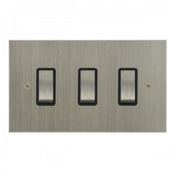 Focus SB True Edge TEASN11.3B 3 gang 20 amp 2 way rocker switch in Satin Nickel with black inserts