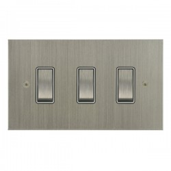 Focus SB True Edge TEASN11.3W 3 gang 20 amp 2 way rocker switch in Satin Nickel with white inserts